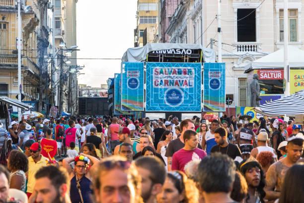 Carnival celebration at Pelourinho in Salvador Bahia, Brazil. stock photo