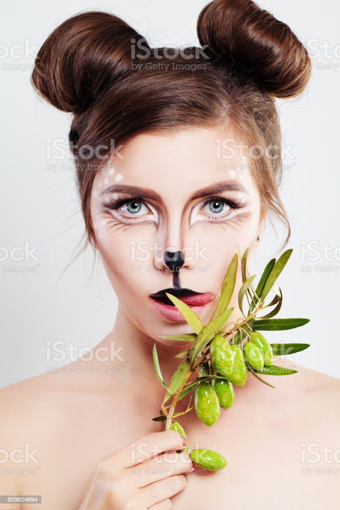 Carnival Characters Makeup. Cute Woman Animal with Artistic Makeup stock photo
