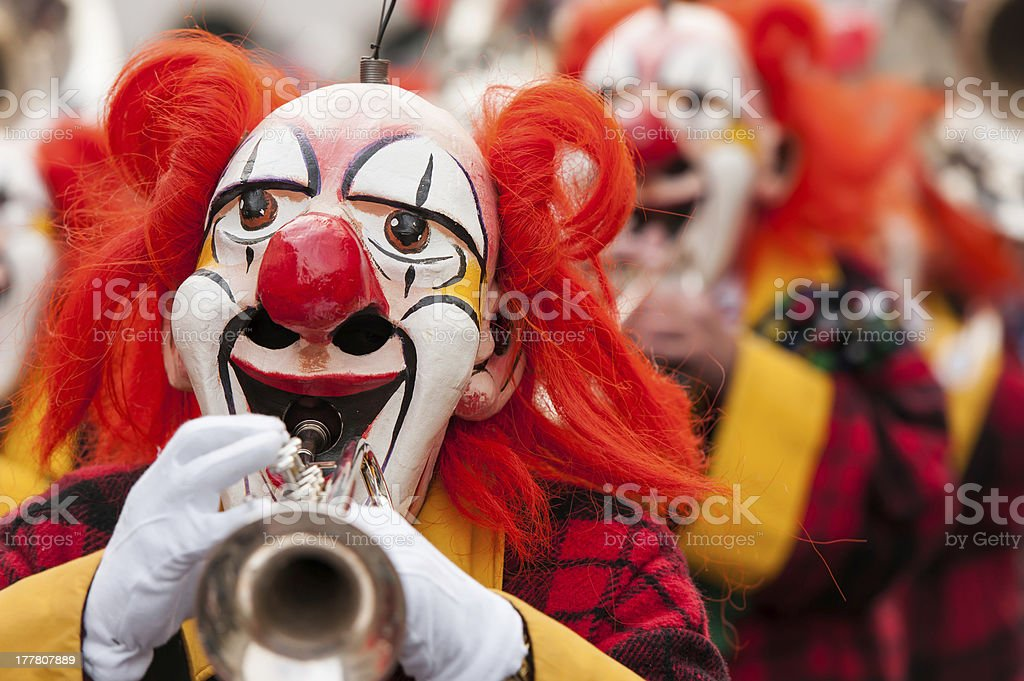 Carnival Clowns Playing Trumpet stock photo