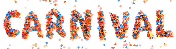 carnival colorful confetti letter - faschingssprüche stock-fotos und bilder