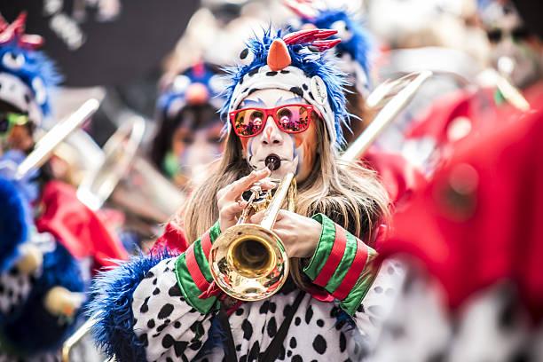 Carnival colorful Fastnachtsumzug parade in Switzerland
