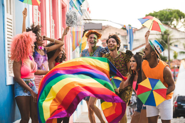 Carnival in the famous streets of Olinda Olinda, Brazil, Carnival - Celebration Event, Traveling Carnival, Day lgbtqi rights stock pictures, royalty-free photos & images