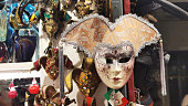 carnival mask decoration in a shop window in Venice Italy