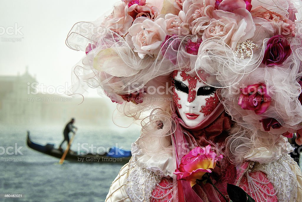 Carnival mask,  Princess of Rose , Venice stock photo