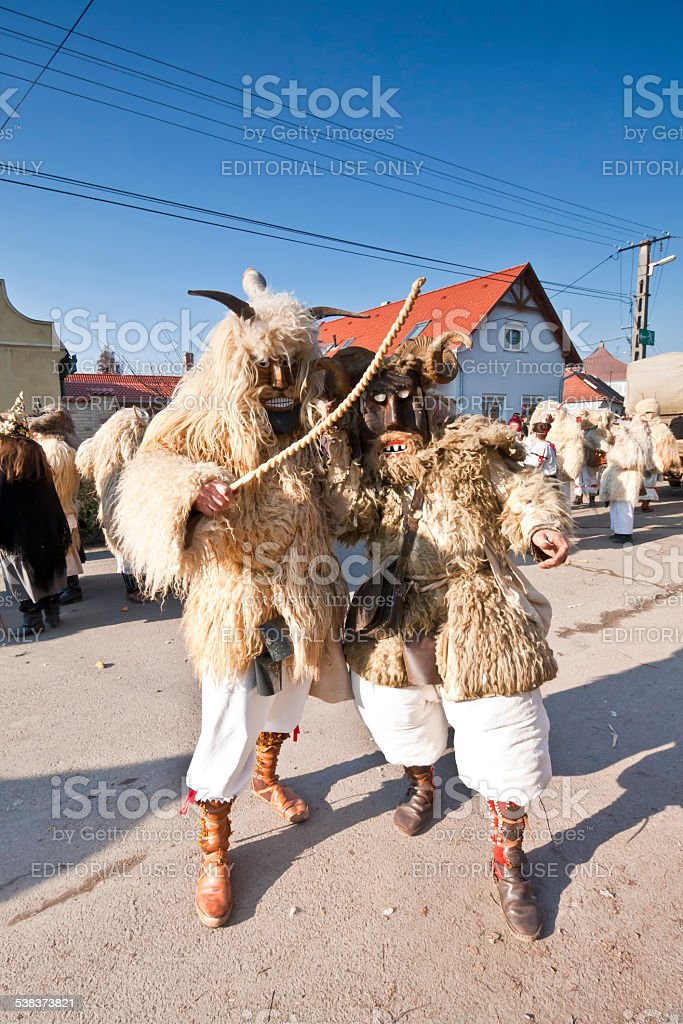 Carnival masker in fur at the 'Busojaras' stock photo