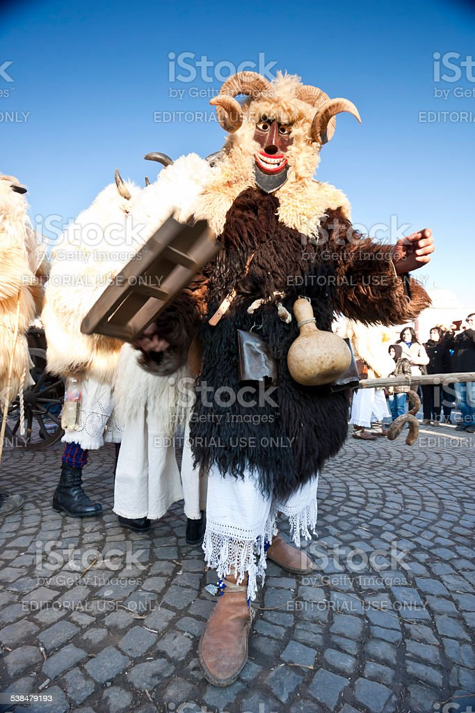 Carnaval masker en fourrure sur le'Busojaras' - Photo