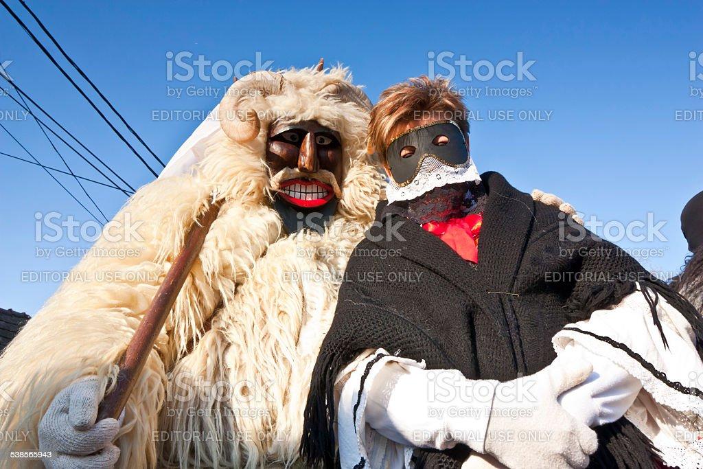Carnaval masker en fourrure avec une'Sokac'femmes - Photo