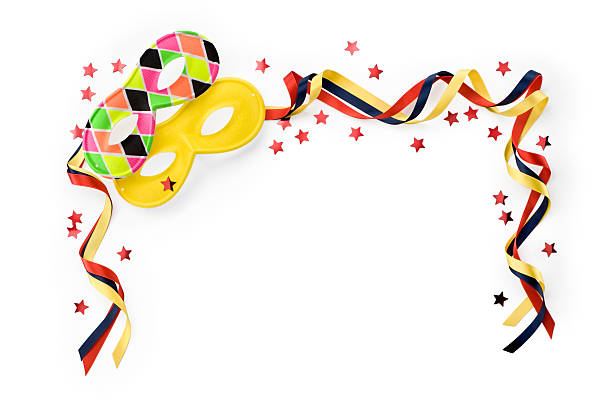 carnival masks with multicoloured ribbons and confetti.color image - mardi gras borders silhouette stock photos and pictures