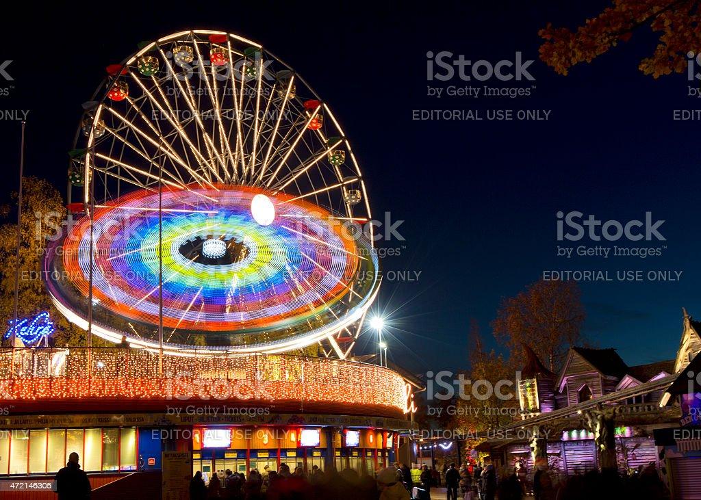 Carnival of Light at Linnanmaki amusement park stock photo