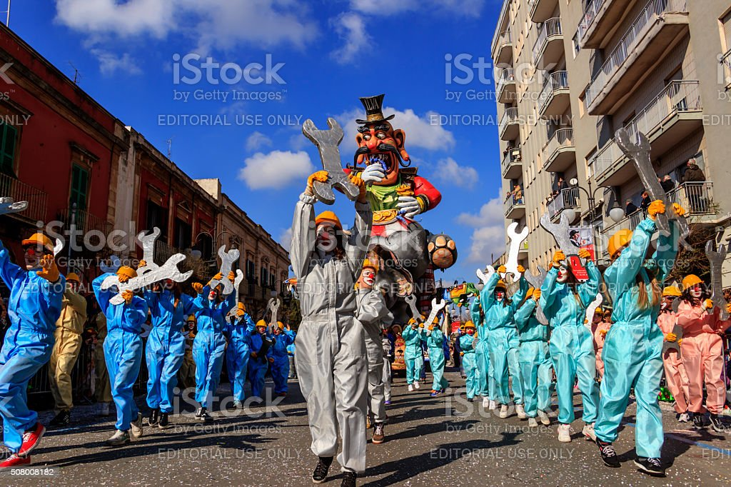 Carnival Putignano: allegorical float of Ilva industry. ITALY(Apulia) stock photo