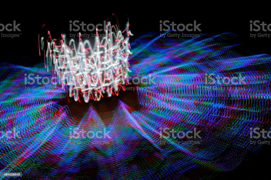 Carnival Ride Motion Blur Night Colors stock photo