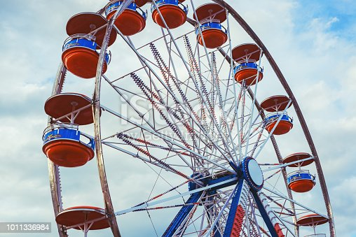 Low angle view of a carnival ride.