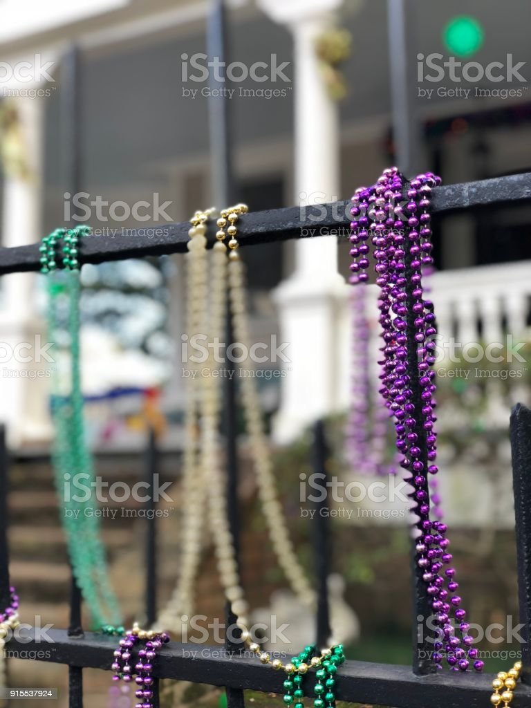 Carnival Season Decorations Around New Orleans during the 2018 Mardi Gras stock photo