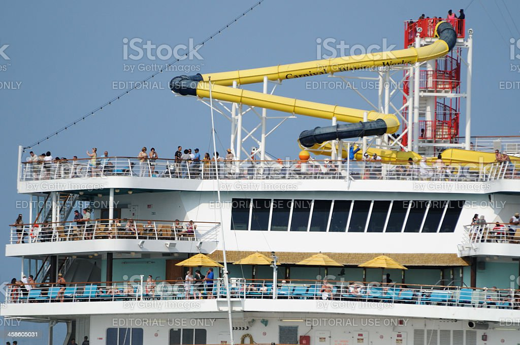 Carnival Sensation Upper Decks With Passengers And Waterslide - Sensation cruise ship pictures