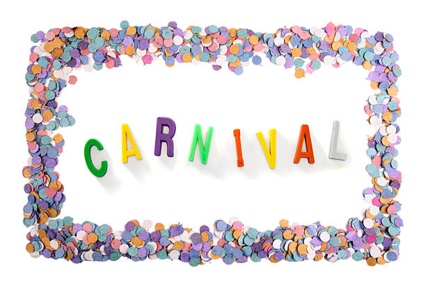 carnival text inside a carnival confetti frame - mardi gras borders silhouette stock photos and pictures