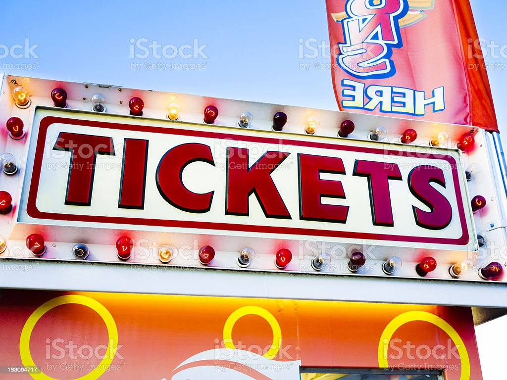 Carnival Tickets Booth Sign at a County Fair Amusement Park stock photo