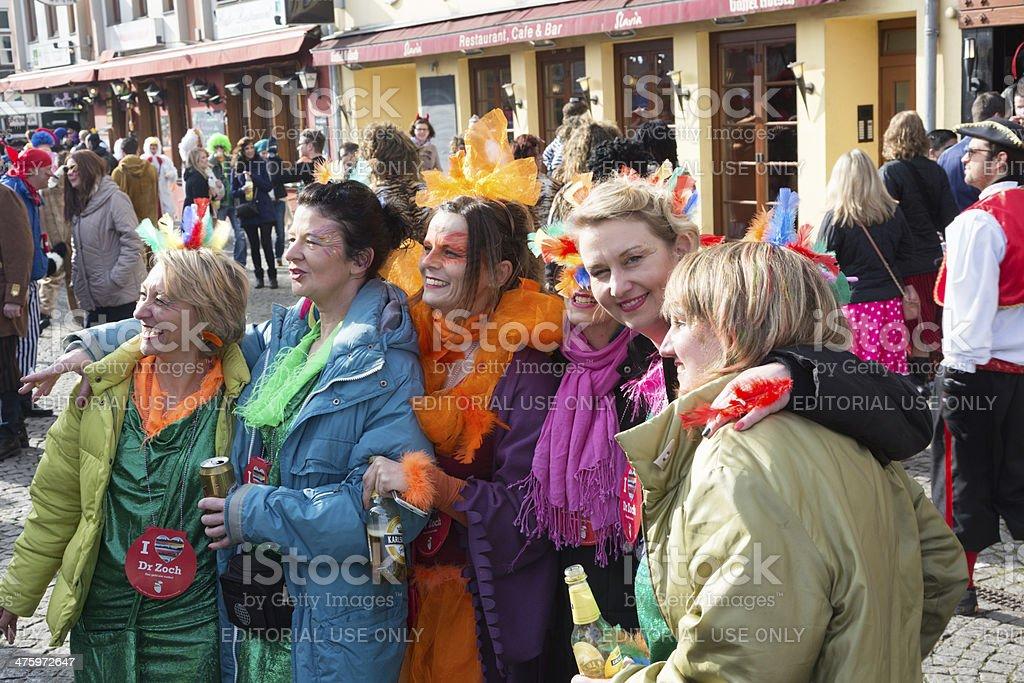 carnival Weiberfastnacht celebration group of women stock photo