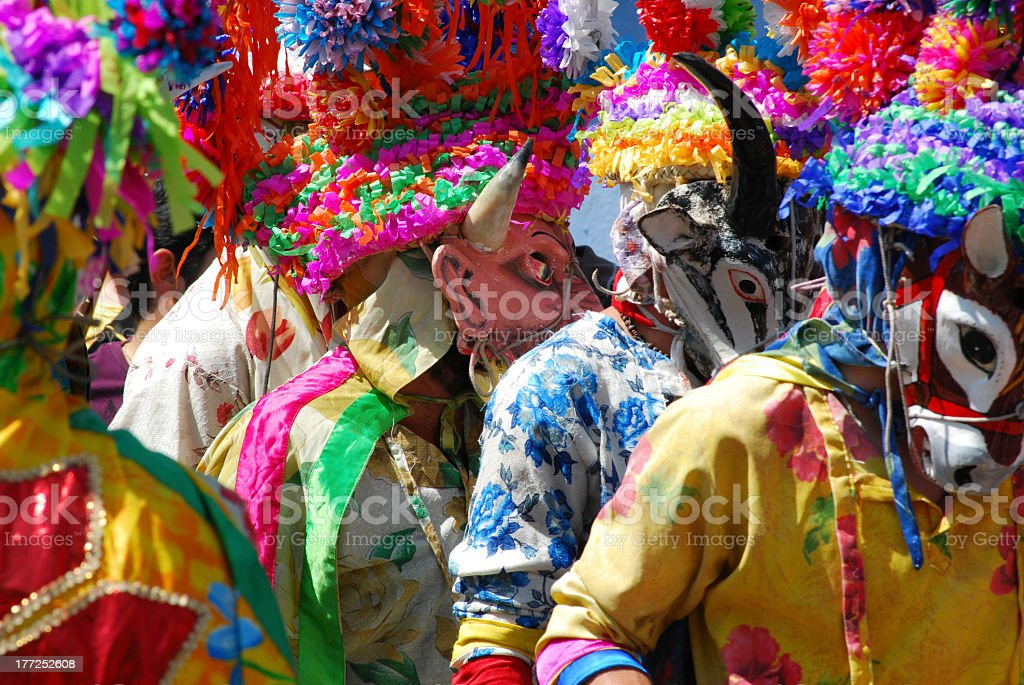 Carnival with masks in Mexico stock photo