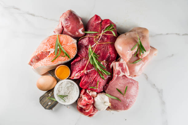 Carnivore protein diet background Carnivore diet background. Non vegan protein sources, Different meat food - chicken breast, pork steak, beef tenderloin, eggs, spices for cooking. White marble background copy space carnivorous stock pictures, royalty-free photos & images