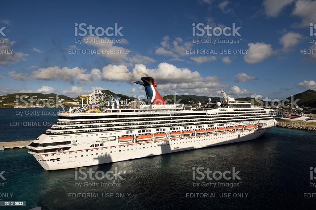Carnnival Sunshne arrives in St Maarten, The Caribbean stock photo