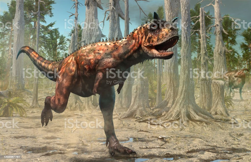 Carnotaurus scene from the Cretaceous era 3D illustration Carnotaurus dinosaur scene from the Cretaceous era 3D illustration Carnivorous Stock Photo