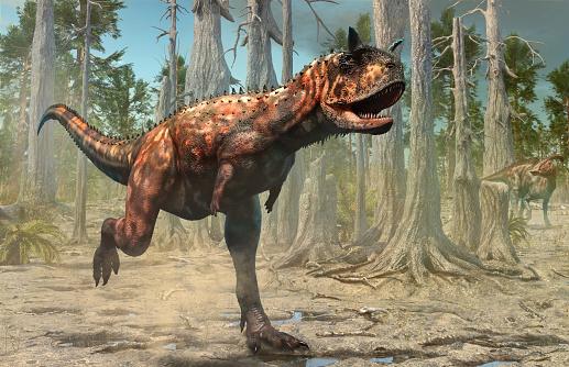 Carnotaurus Scene From The Cretaceous Era 3d Illustration Stock Photo - Download Image Now
