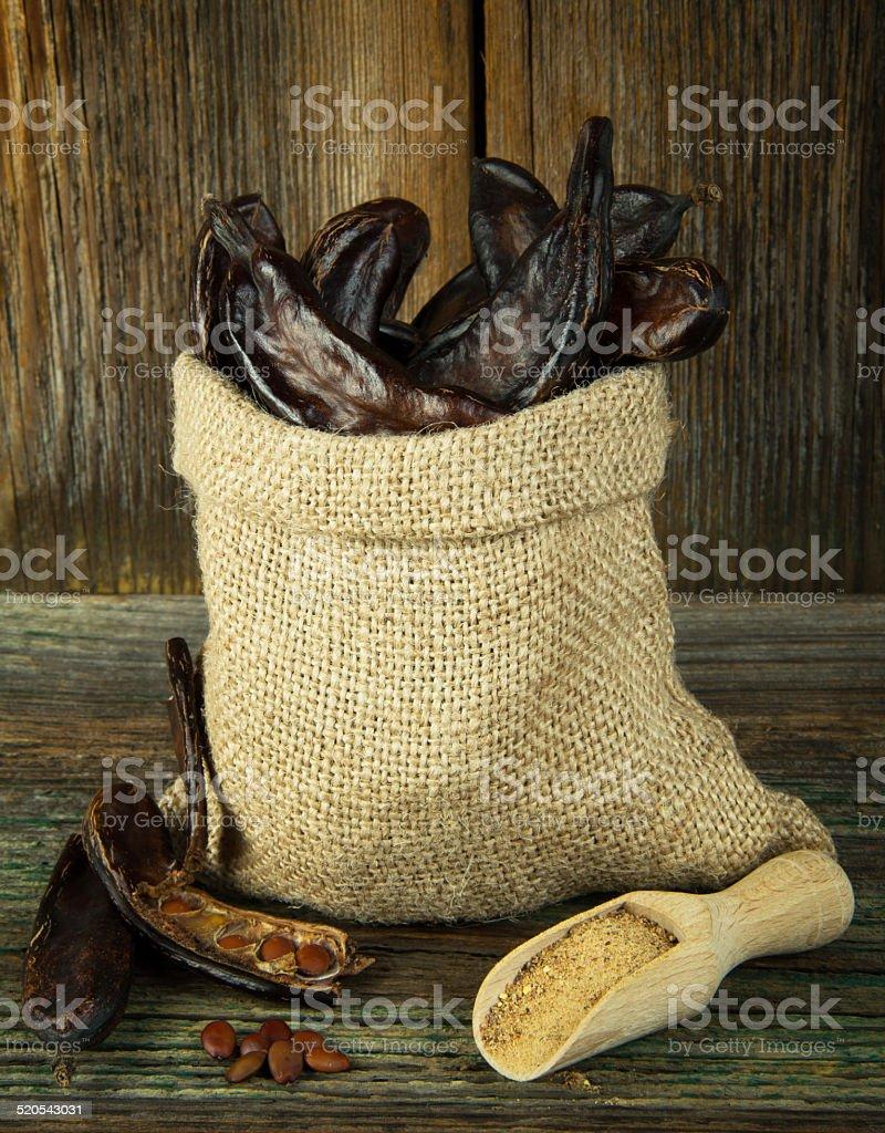 Carob fruits stock photo