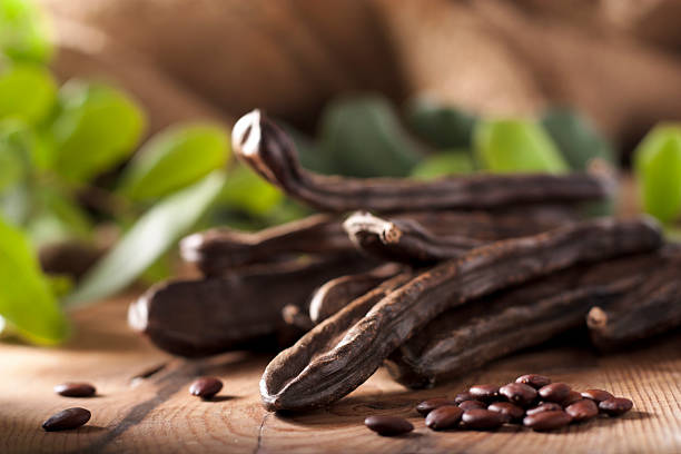 Carob Pods and Beans stock photo