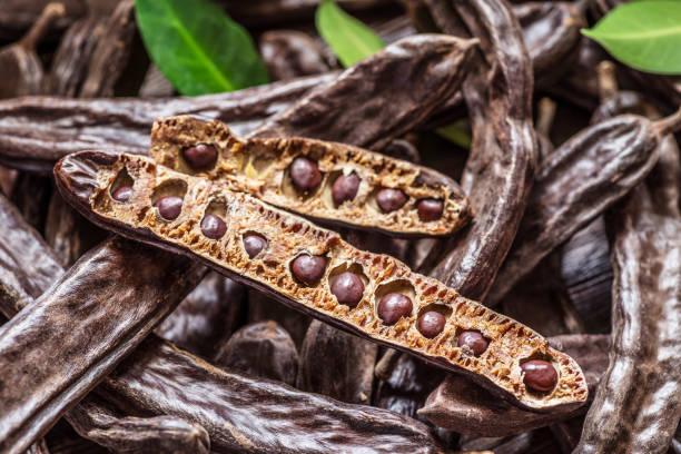Carob pods and carob beans. stock photo