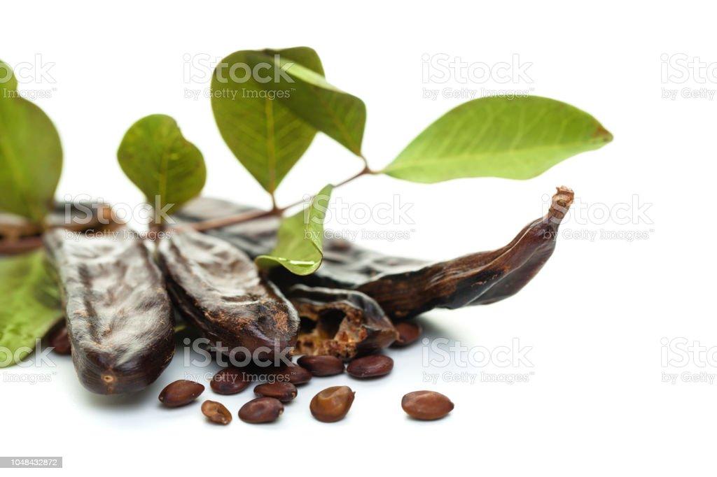 Vainas de algarrobo en fondo blanco. Vainas de algarroba dulce orgánico saludable con semillas y hojas - foto de stock