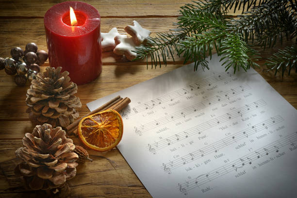 Weihnachtslied altes Weihnachtslied mit Text sheet music stock pictures, royalty-free photos & images