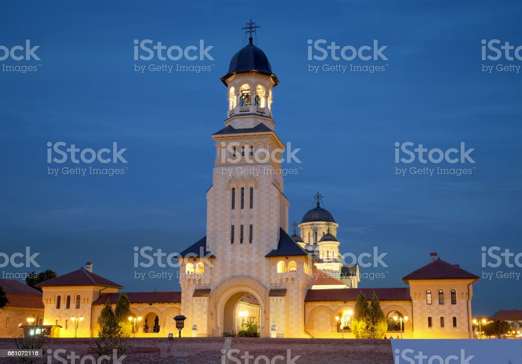 Carolina Citadel of Alba Iulia at night, Romania stock photo