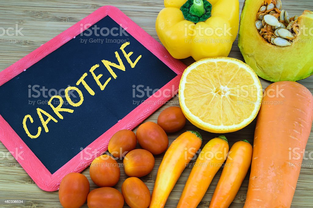 Carotene in orange color fruits and vegetables stock photo