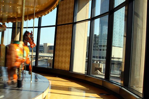 Carousal with City Skyline in Grand Rapids Michigan stock photo