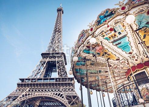 Carousel and Tour Eiffel in Paris France