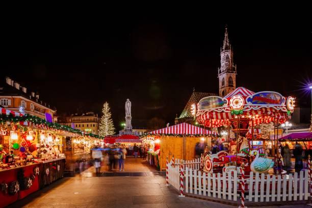 Carousel at the Christmas Market, Vipiteno, Bolzano, Trentino Alto Adige, Italy stock photo