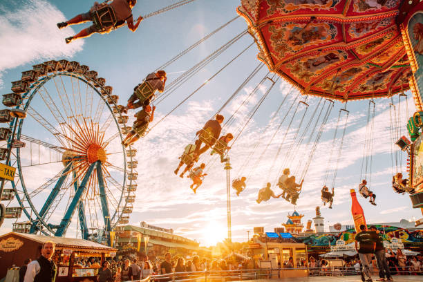 Carousel at the Oktoberfest in Munich, Germany stock photo