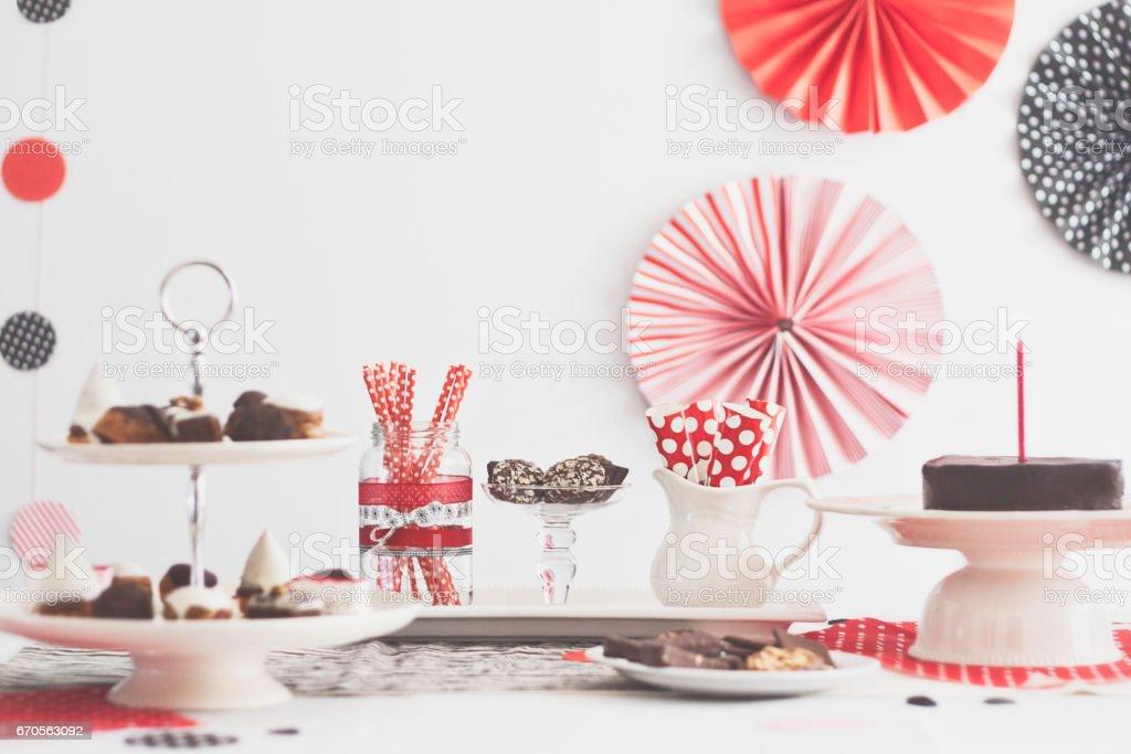 Table de fête anniversaire de carrousel photo libre de droits