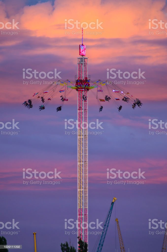 Carousel during the night stock photo