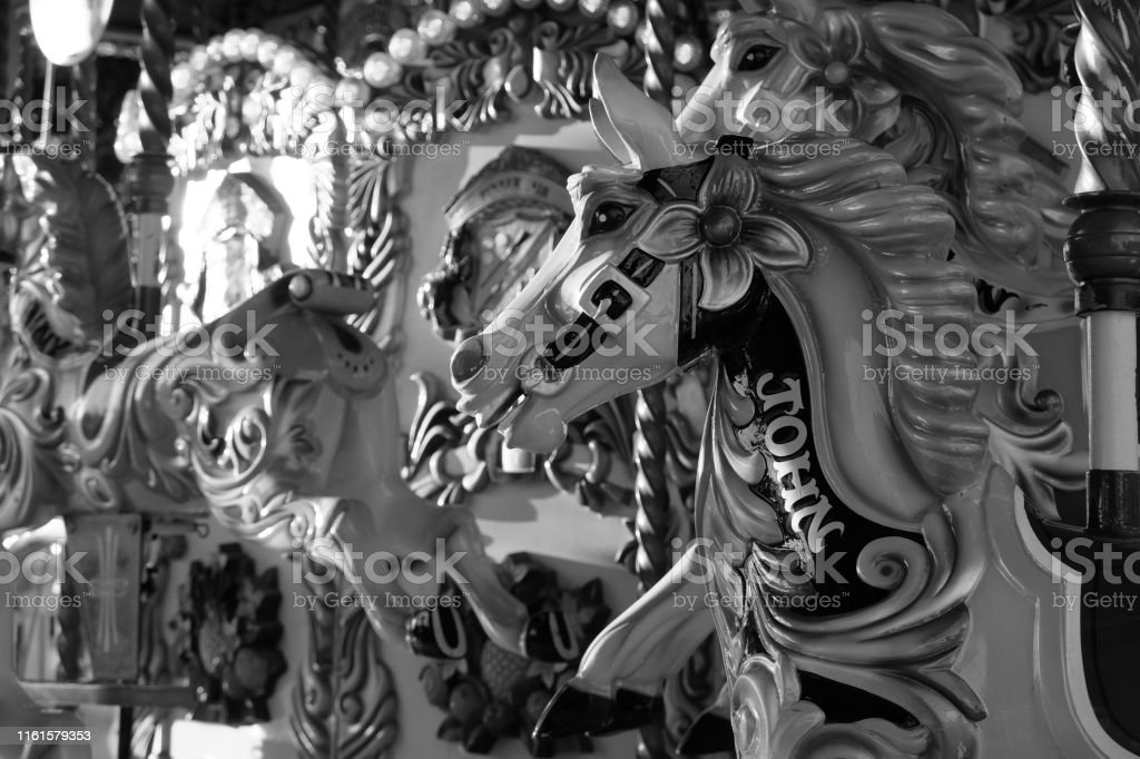 Carousel Horse Black And White Stock Photo Download Image Now Istock