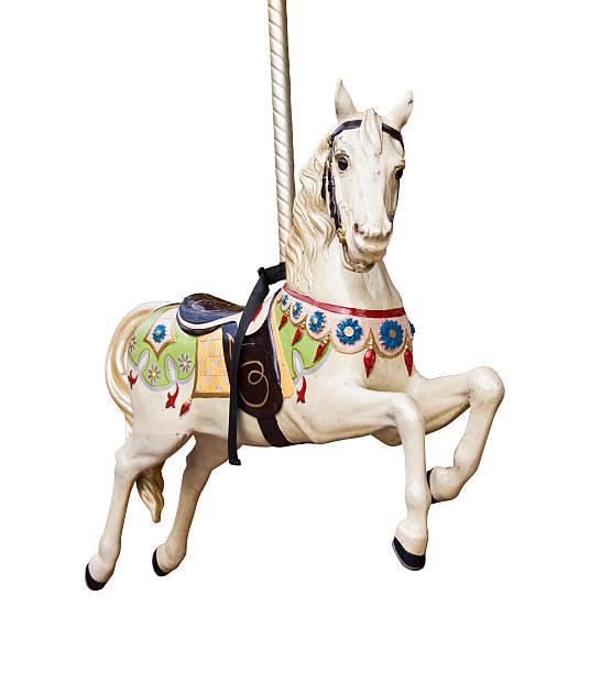 karussell pferd isoliert auf weißem hintergrund - karussell stock-fotos und bilder