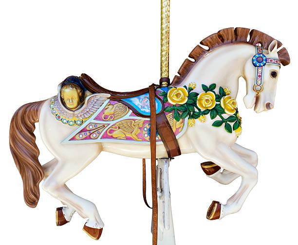 karussell pferd mit gelben rosen - karussell stock-fotos und bilder
