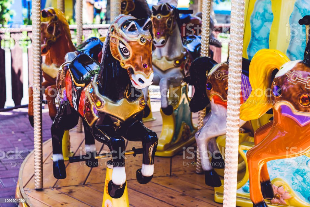 Carousel Horses On A Carnival Merry Go Round Stock Photo Download Image Now Istock