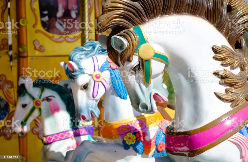 Carousel Horses On A Carnival Merry Go Round View Stock Photo Download Image Now Istock