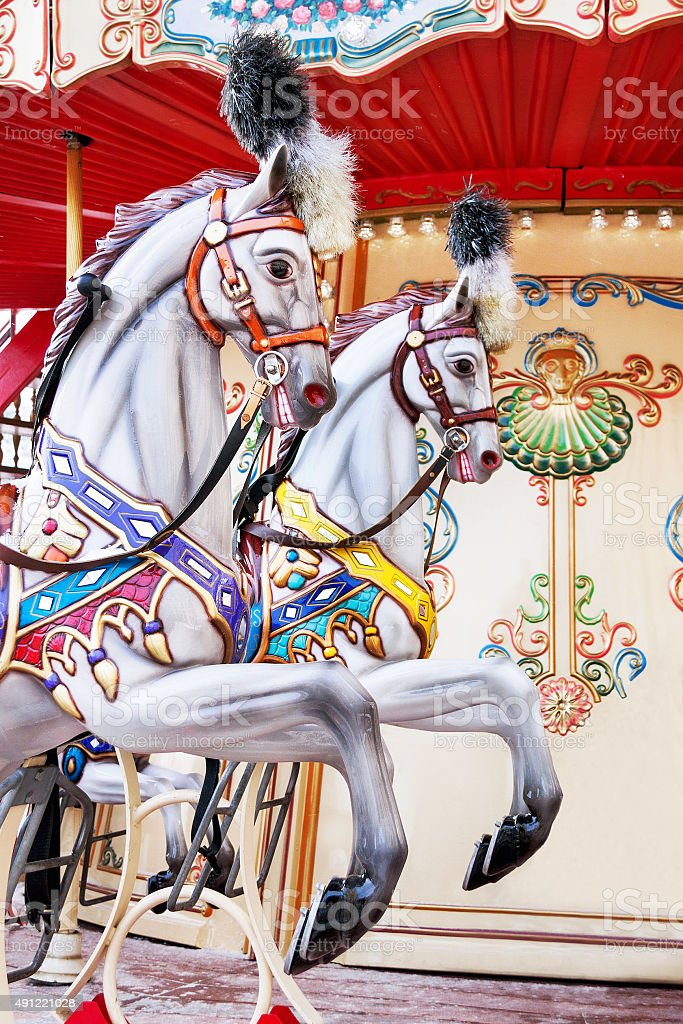 Carousel Horses On A Vintage Carnival Merry Go Round Stock Photo Download Image Now Istock