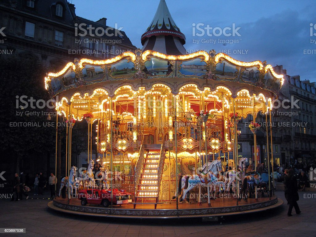 Carousel in front of the Hotel de Ville in Paris stock photo