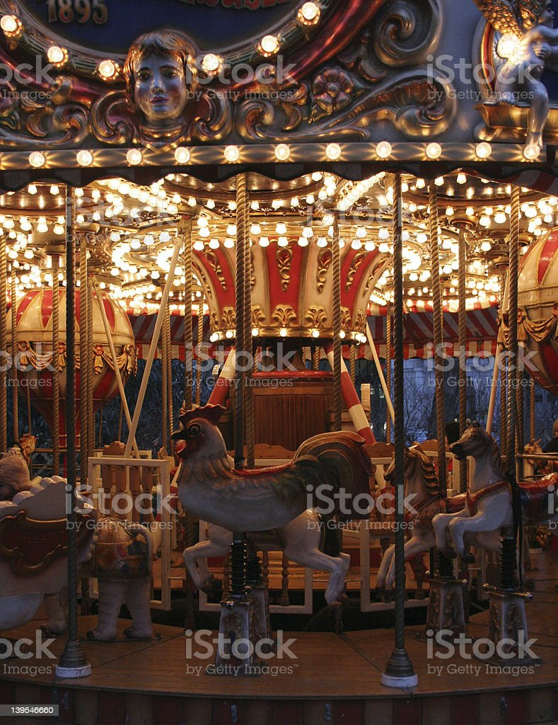 carousel in the evening royalty-free stock photo