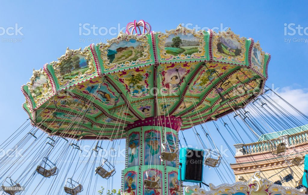 Carousel in the Prater park in Vienna, Austria stock photo