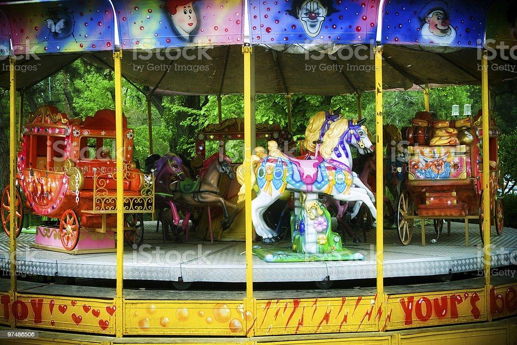 Carousel in themepark royalty-free stock photo