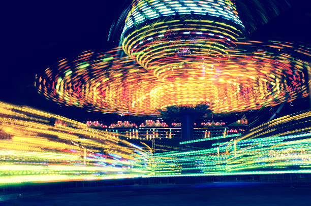 carousel motion blur stock photo